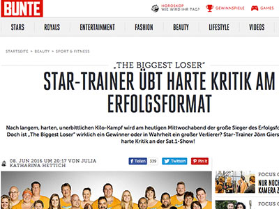"Harte Kritik von Star-Trainer an ""The Biggest Loser"""